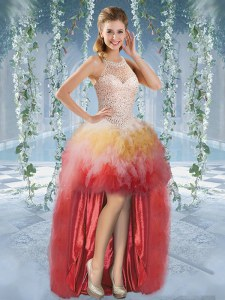 Dramatic Halter Top Sleeveless Tulle Prom Party Dress Beading and Ruffles Lace Up