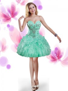 Modest Mini Length Turquoise Prom Evening Gown Sweetheart Sleeveless Lace Up
