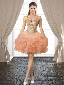 Customized Sleeveless Beading and Ruffles and Pick Ups Backless Homecoming Dress