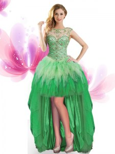 Latest Scoop Sleeveless Tulle Prom Party Dress Beading and Ruffles Lace Up