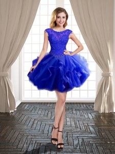 Artistic Royal Blue Prom Party Dress Prom and Party and For with Beading and Ruffles Scoop Cap Sleeves Lace Up