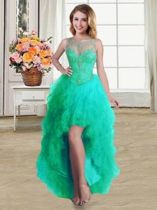 Cute Ball Gowns Pageant Dress Womens Turquoise Scoop Tulle Sleeveless High Low Lace Up