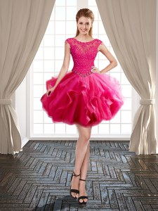 Fashionable Hot Pink Prom Party Dress Prom and Party and For with Beading and Ruffles Scoop Cap Sleeves Lace Up