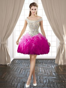 Latest Fuchsia Backless Off The Shoulder Beading and Ruffles Prom Evening Gown Organza Sleeveless
