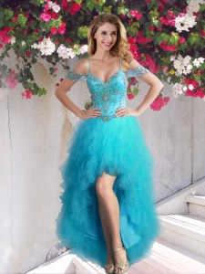 Dynamic Tulle Off The Shoulder Sleeveless Lace Up Beading and Ruffles Dress for Prom in Teal