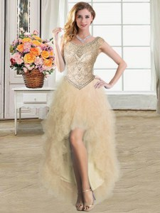 Vintage Scoop Champagne Sleeveless Tulle Lace Up Prom Evening Gown for Prom and Party