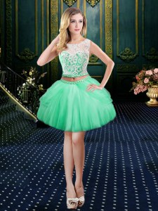 Designer Apple Green Prom and Party and For with Lace Scoop Sleeveless Clasp Handle