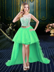 A-line Organza Scoop Sleeveless Lace High Low Clasp Handle Prom Evening Gown