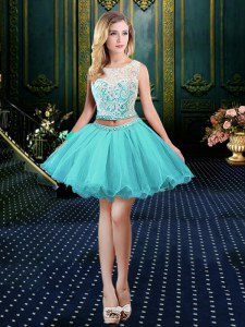 Scoop Aqua Blue Clasp Handle Prom Gown Lace Sleeveless Mini Length