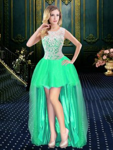 Glorious Scoop Turquoise A-line Beading Prom Gown Clasp Handle Organza Sleeveless High Low