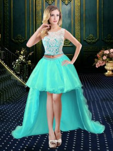 Aqua Blue Scoop Neckline Lace Prom Dress Sleeveless Clasp Handle