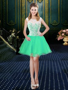 Pretty Scoop Sleeveless Zipper Mini Length Lace Prom Dresses
