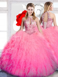 High Class Hot Pink Ball Gowns Halter Top Sleeveless Tulle Floor Length Lace Up Beading and Ruffles 15th Birthday Dress