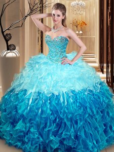 Smart Multi-color Ball Gowns Beading and Ruffles Sweet 16 Dress Lace Up Organza Sleeveless Asymmetrical