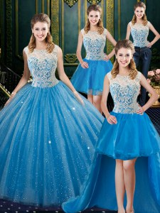 Four Piece Tulle Sleeveless Floor Length Quinceanera Gowns Brush Train and Lace
