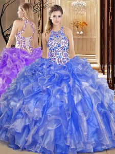Super Blue Ball Gowns Organza Scoop Sleeveless Embroidery and Ruffles Floor Length Backless Quinceanera Gown
