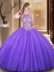 Scoop Backless Tulle Sleeveless Floor Length 15 Quinceanera Dress and Embroidery and Sequins