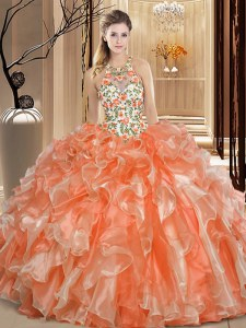 Scoop Backless Organza Sleeveless Floor Length 15th Birthday Dress and Embroidery and Ruffles