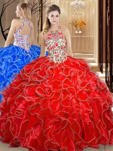 Enchanting Scoop Sleeveless Embroidery and Ruffles Backless Quinceanera Dress