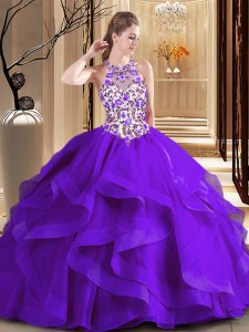 Pretty Purple Lace Up Scoop Embroidery Ball Gown Prom Dress Tulle Sleeveless Brush Train