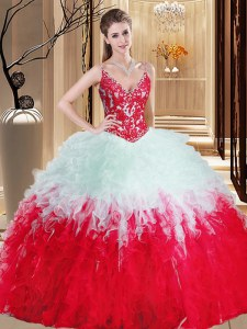 White And Red Straps Lace Up Appliques and Ruffles Quinceanera Dress Sleeveless