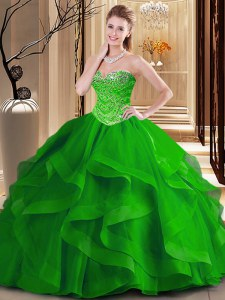 Edgy Green Ball Gowns Sweetheart Sleeveless Tulle Floor Length Lace Up Beading and Ruffles Quinceanera Gowns