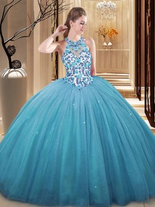 Best Blue Lace Up Vestidos de Quinceanera Lace and Appliques Sleeveless Floor Length