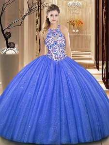Blue High-neck Neckline Lace and Appliques Quinceanera Dress Sleeveless Lace Up