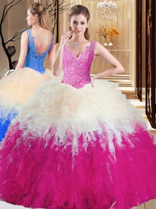 Ball Gowns Sweet 16 Dress Multi-color V-neck Tulle Sleeveless Floor Length Zipper