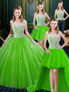 Four Piece High-neck Sleeveless Tulle Sweet 16 Quinceanera Dress Lace Brush Train Zipper
