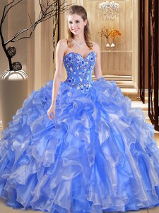 Beading and Embroidery and Ruffles 15th Birthday Dress Blue Lace Up Sleeveless Floor Length