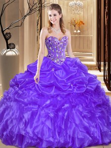 Dramatic Floor Length Purple Quinceanera Dresses Organza Sleeveless Beading and Embroidery