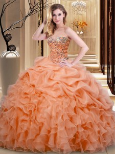 Fitting Orange Sleeveless Floor Length Beading and Ruffles and Pick Ups Lace Up Quinceanera Gowns