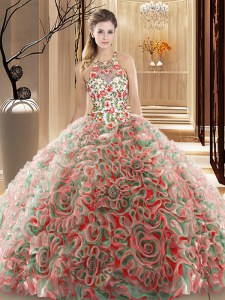 Multi-color Criss Cross Quinceanera Dress Ruffles and Pattern Sleeveless Brush Train