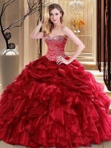 Red Quince Ball Gowns Military Ball and Sweet 16 and Quinceanera and For with Beading and Pick Ups Sweetheart Sleeveless Lace Up