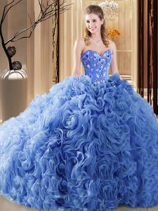 Sleeveless Embroidery and Ruffles Lace Up Quince Ball Gowns with Blue Court Train