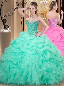 Romantic Apple Green Ball Gowns Beading and Ruffles and Pick Ups Vestidos de Quinceanera Lace Up Organza Sleeveless Floor Length