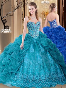 Custom Design Teal Ball Gowns Embroidery and Pick Ups 15 Quinceanera Dress Lace Up Organza Sleeveless Floor Length
