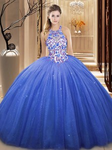 Floor Length Blue 15th Birthday Dress Tulle Sleeveless Lace and Appliques