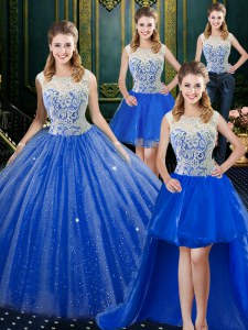 Custom Made Four Piece Royal Blue Ball Gowns Lace 15 Quinceanera Dress Zipper Tulle Sleeveless Floor Length