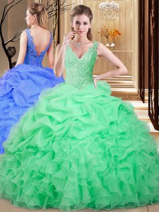 Organza V-neck Sleeveless Backless Lace and Appliques and Pick Ups Quinceanera Dresses in Apple Green