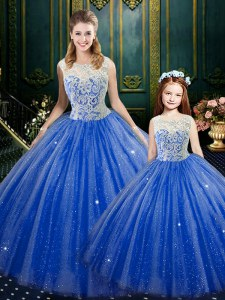 Luxurious Royal Blue High-neck Neckline Lace Sweet 16 Dress Sleeveless Zipper