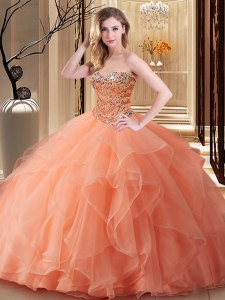 Sleeveless Lace Up Floor Length Beading Sweet 16 Quinceanera Dress