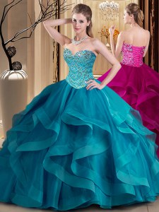 Pretty Teal Lace Up Sweetheart Beading and Ruffles Quinceanera Gowns Tulle Sleeveless