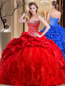 Red Taffeta and Tulle Lace Up Sweetheart Sleeveless Sweet 16 Quinceanera Dress Brush Train Beading and Ruffles