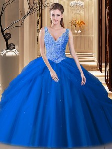 Blue Quinceanera Dresses Military Ball and Sweet 16 and Quinceanera and For with Lace and Pick Ups V-neck Sleeveless Backless