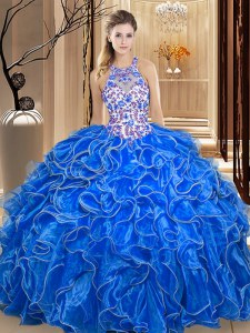 Scoop Embroidery and Ruffles Quinceanera Gown Royal Blue Backless Sleeveless Floor Length