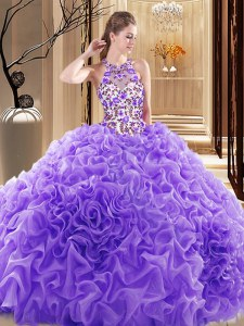 Decent Lavender Organza Backless 15th Birthday Dress Sleeveless Brush Train Embroidery and Ruffles