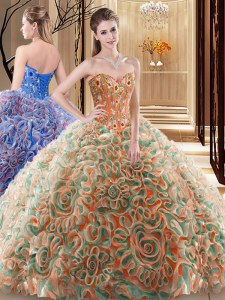 Latest Multi-color Sweetheart Neckline Embroidery and Ruffles Sweet 16 Dresses Sleeveless Lace Up