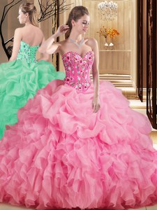 Fancy Sleeveless Organza Brush Train Lace Up Quince Ball Gowns in Rose Pink with Embroidery and Ruffles and Pick Ups
